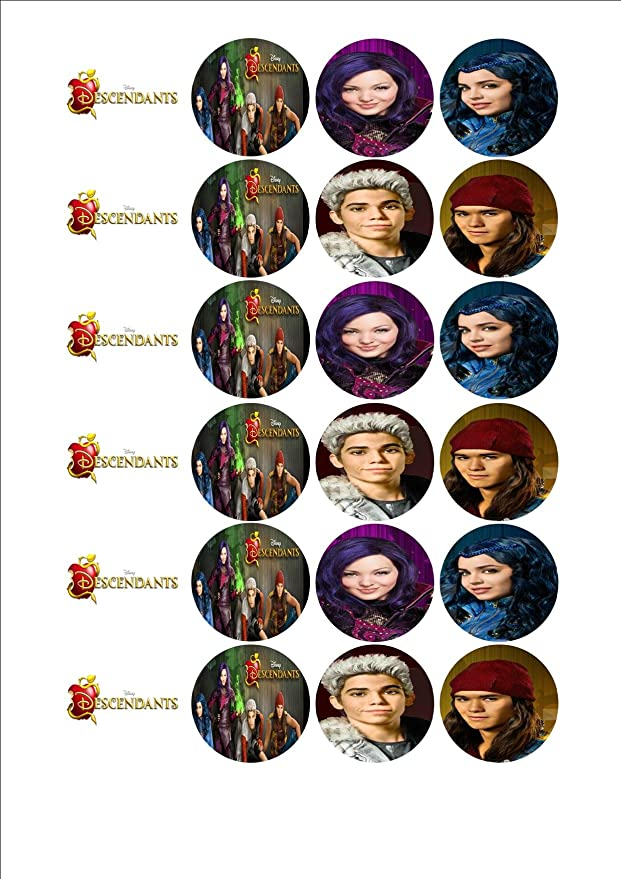24 x Disney Descendants Fairy Cake toppers on icing or wafer paper