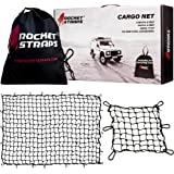 Rocket Straps Cargo Net 4fX6f Stretches to 7.2fX10.5f | Heavy Duty 5mm Tightly Woven 3hX3h Mesh No Gaps in Securing…