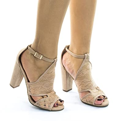 9d809f874a4 BAMBOO Frenzy23 Nude lace Block Heel Sandal w Embroidered Web Mesh Lace  Fabric -5.5
