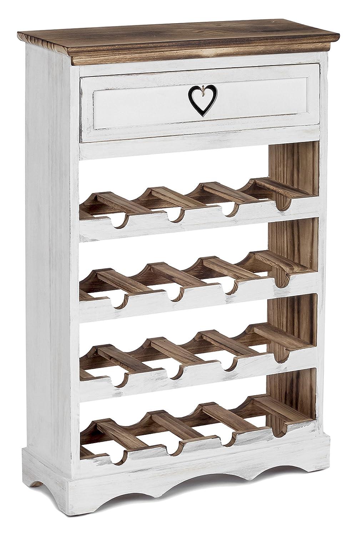 ts-ideen Cantinetta Portabottiglie in legno Bianco e Noce effetto Consumato per 16 bottiglie completa di cassetto porta accessori