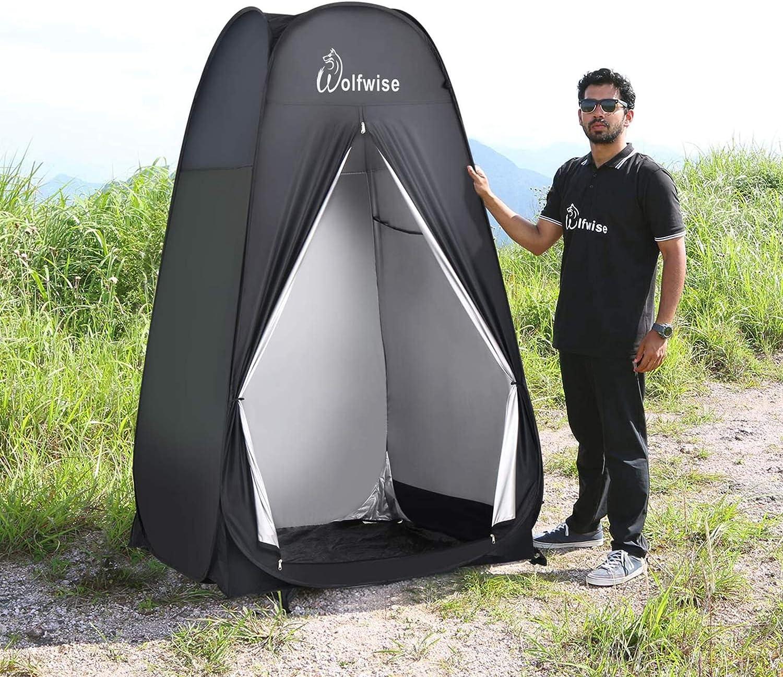 WolfWise Tienda De Campa/ña Pop Up Tiendas instant/áneas Carpas Vestidor Vestuario Espacioso para Camping Ciclismo Ba/ño Ducha Playa