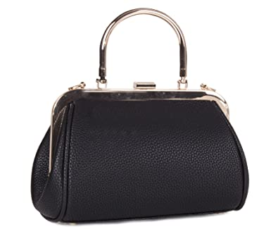 9d25e79f74 Big Handbag Shop Womens Vegan Leather Fashion Plain Wedding Evening Party  Single Handle Shoulder Bag (