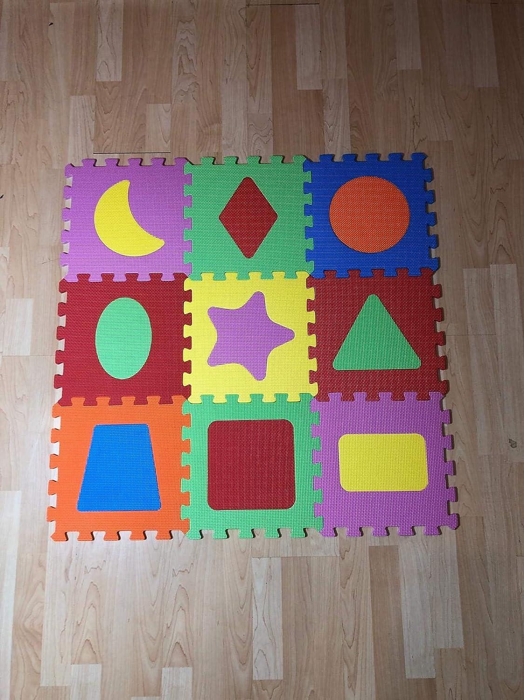 para ni/ño ni/ña de figuras geometricas Alfombra goma puzzle rompecabeza para habitaci/ón de juego de bebe protectora de suelos para ni/ños 9 piezas de 31cm de espuma entrelazables multicolor Unisex Eva