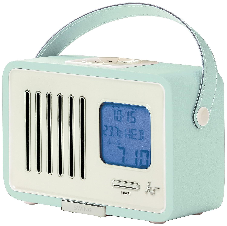 kitsound swing fm radio with alarm clock duck egg blue ebay. Black Bedroom Furniture Sets. Home Design Ideas
