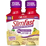 SlimFast Advanced Nutrition Bananas & Cream Shake - Ready to Drink Meal Replacement - 20g Protein - 11 Fl Oz Bottle - 4 Count
