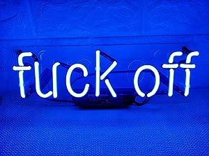 Neon Signs Neon Light Sign Neon Lamp Led Neon Sign Neon Wall Signs Art Neon Sign Neon Words Home Bedroom Room Decor Beer Bar Custom Glass Neon Signs Blue,Fuck Off,14.5