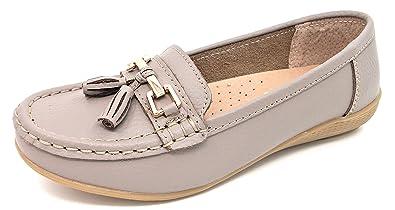 2999ee769ff Jo   Joe Womens Ladies Nautical Leather Casual Tassel Loafer with Low Wedge  Flat Heel