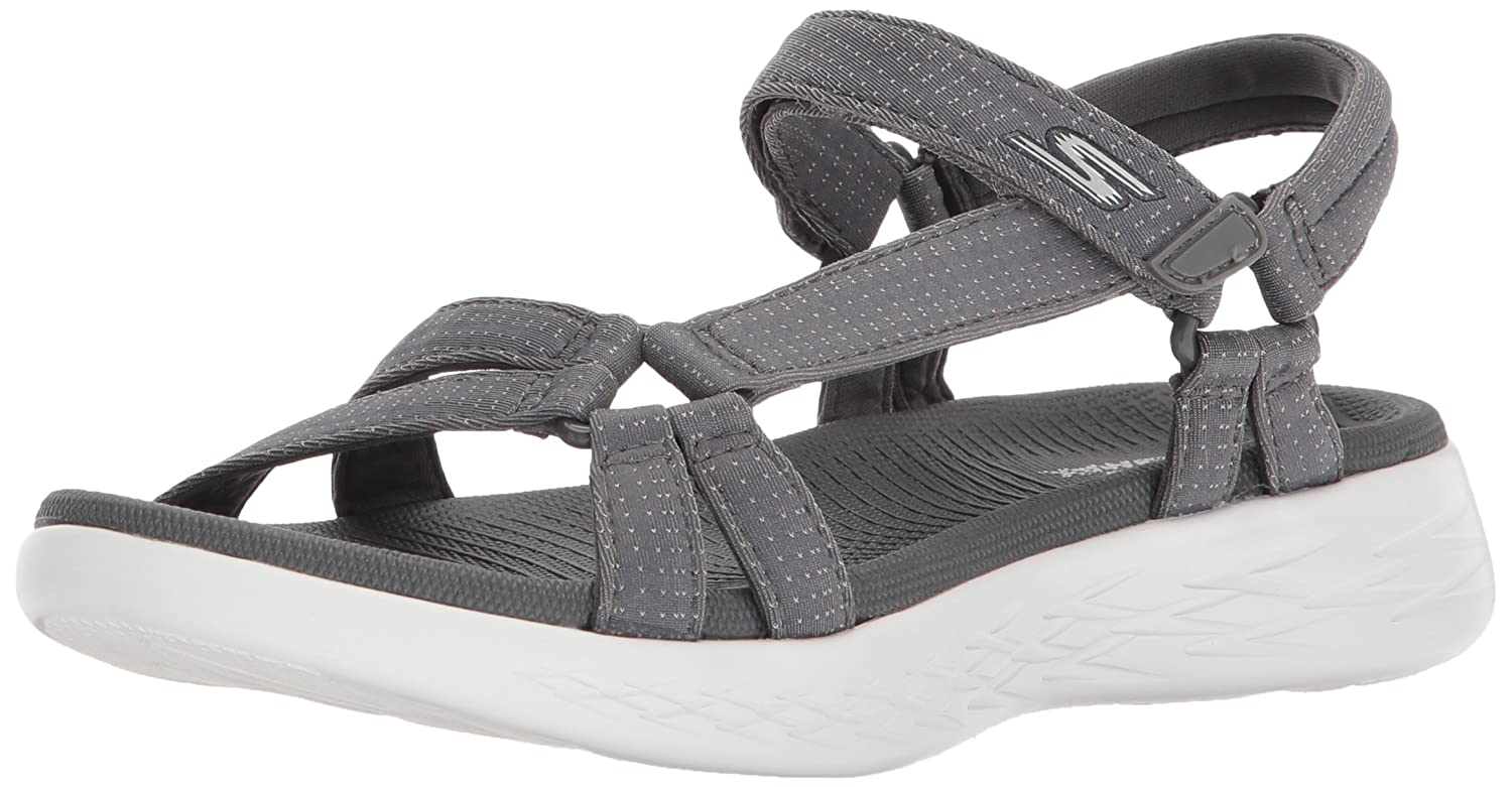 Skechers Women's on-The-Go 600-Brilliancy Sport Sandal B072T3Z4WF 5 B(M) US|Charcoal