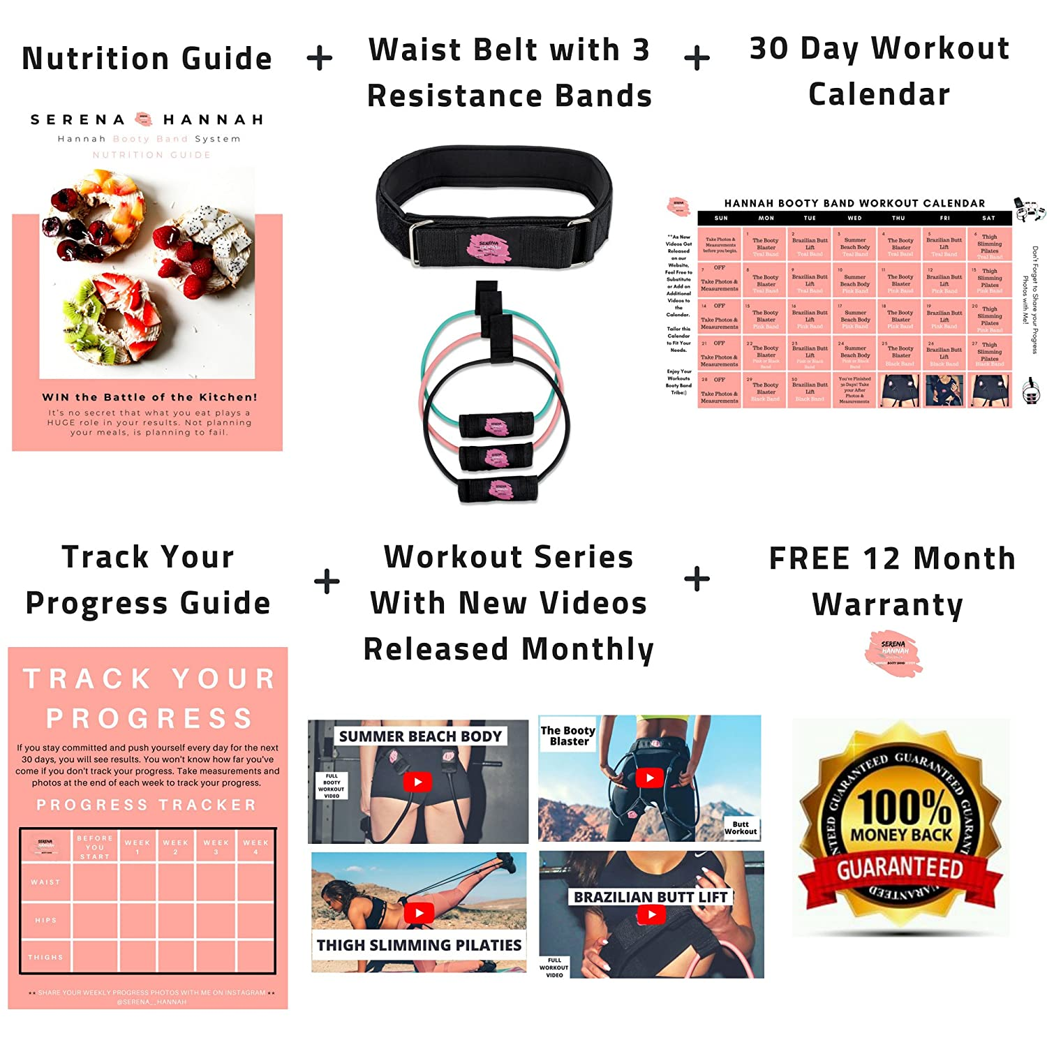 Amazon Hannah Booty Band System With Workout Videos 30 Day Calendar Nutritional Guide Full Brazilian Butt Lift Program