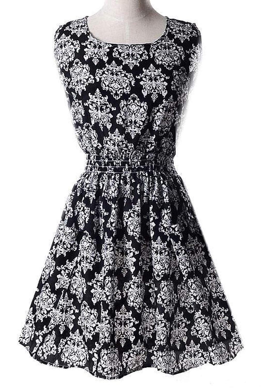 Women Bohemian Floral Leopard sleeveless Chiffon Dress DimGray / M