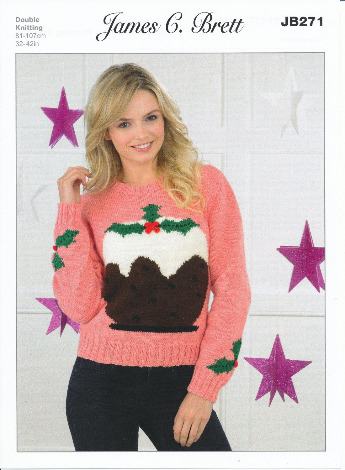 James Brett Double Knitting Pattern Ladies Christmas Pudding Sweater Top Value DK (JB271) by James C Brett Patterns