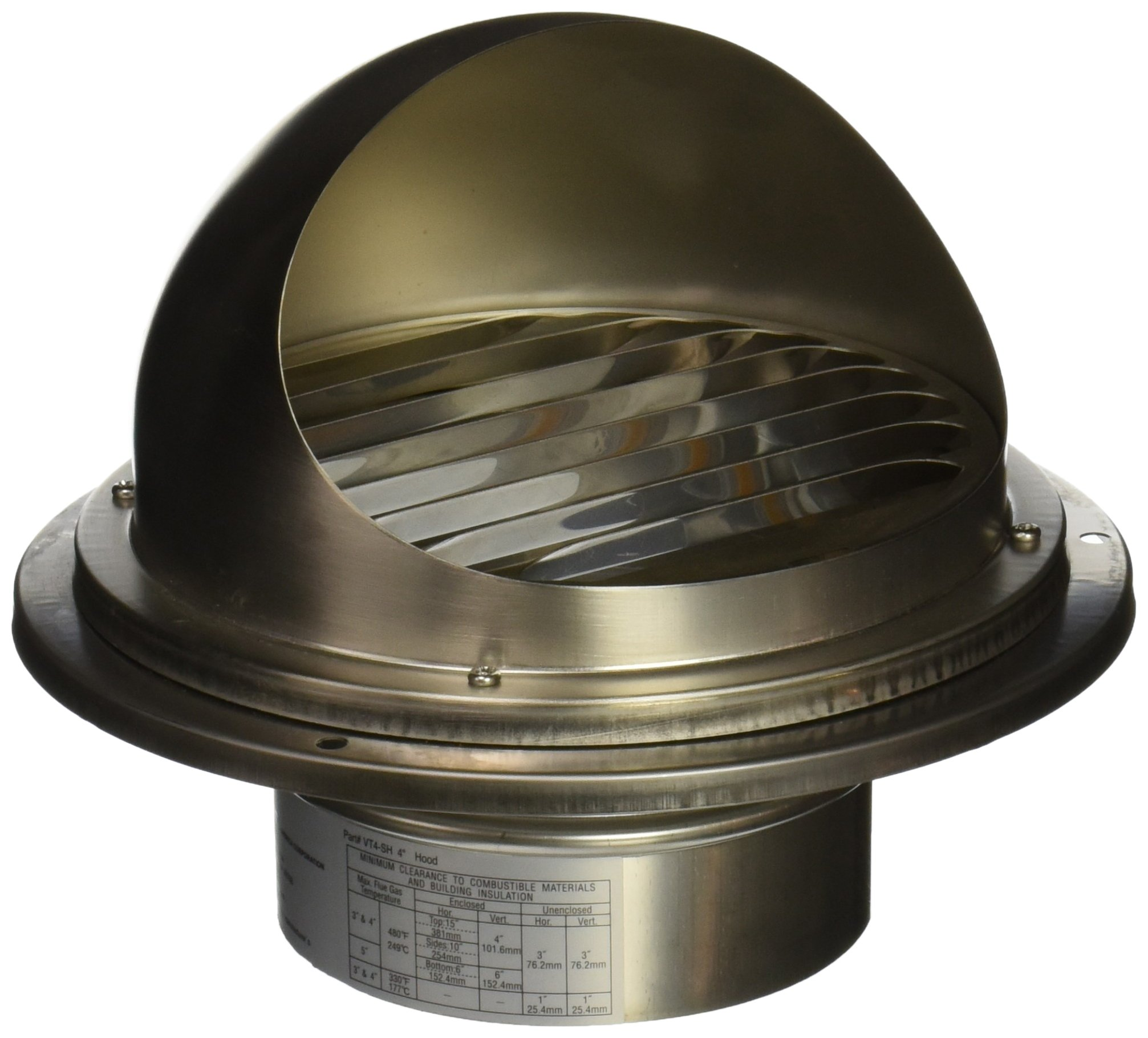 Noritz VT4-SH 4-Inch Hood Termination for Single Wall Stainless Steel Venting