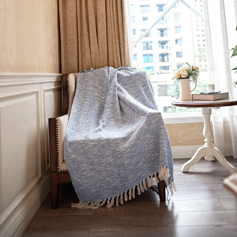 MOTINI Blue and White Throw Blanket Knitted Herringbone Woven