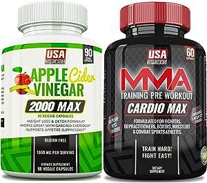 Cardio Max Caffeine Pills & Apple Cider Vinegar Capsules - (One Bottle of Each)