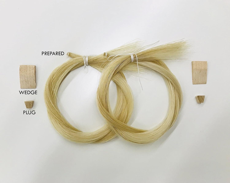 Cello Bows White 29.5 2 Hanks, Prepared, Includes Plug and Wedge MI/&VI Premium Mongolian Horse Hair for Violin 2 Hanks Viola Unbleached