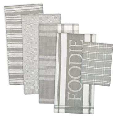 DII Assorted Decorative Kitchen Dish Towels & Dish Cloth Foodie Set, Ultra Absorbent for Washing and Drying (Towels 18x28  & Cloths 13x13 ) Light Gray, Set of 5