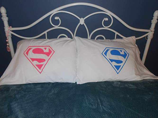 Amazon.com: His and Hers Superman Logo, Couples Pillowcases, Bedroom ...