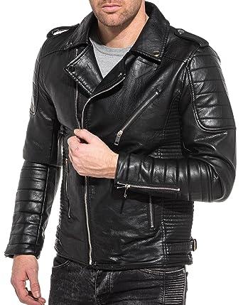 Couleur Effet Cuir Frilivin Taille Noir Blouson Homme Biker Xs xvttw4gqY