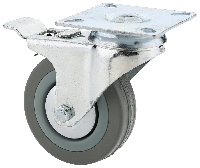 Steelex D2598 3-Inch Swivel Double Lock Rubber Plate Caster, 150-Pound (Gray)