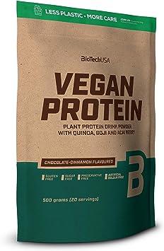 BioTechUSA Vegan Protein En polvo con sabor bebida a base de proteína vegetal, con bayas goji y acai en polvo, harina de quínoa, 500 g, ...