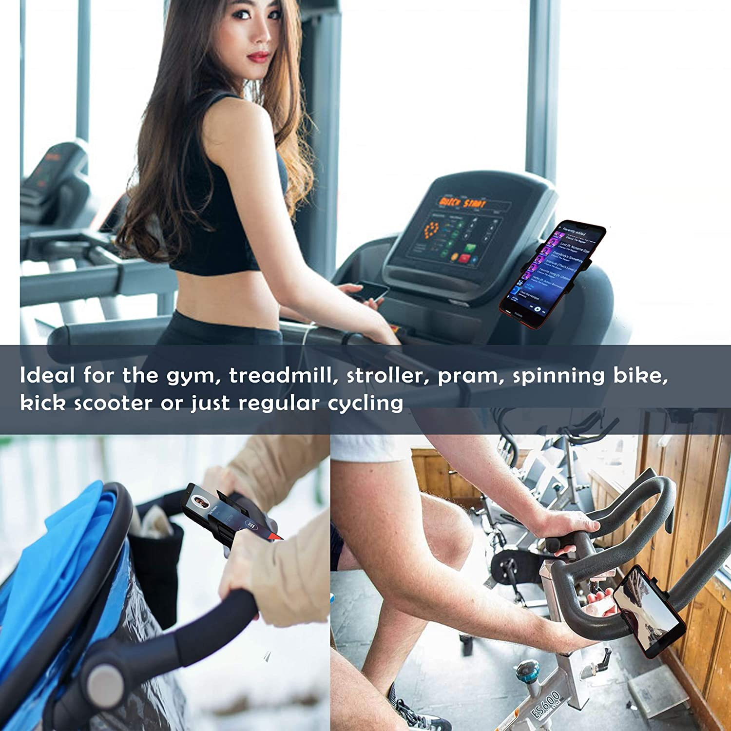 8//8Plus 6S//6S Plus Samsung Galaxy 7//7Plus VEGAMONT Bike Phone Mount Any Phone Up to 6.5 to 3.5 Wide-360 Rotation Adjustable for iPhone X S8 XS XR S9 S7 LG