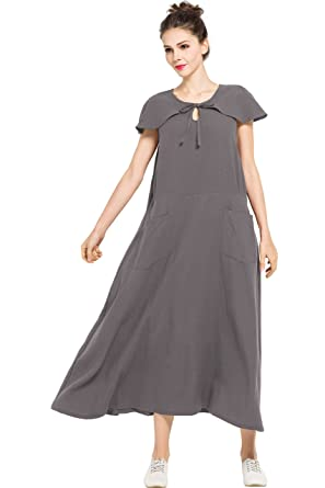 96475beb8c7 Image Unavailable. Image not available for. Color  Anysize Side Pockets Linen  Cotton Spring Summer Dress Plus Size Clothing F123A
