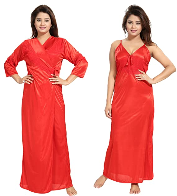 c2039bb223 Noty - Women's Satin Nighty - 2 Pc- Nighty with Robe (Red): Amazon.in:  Clothing & Accessories