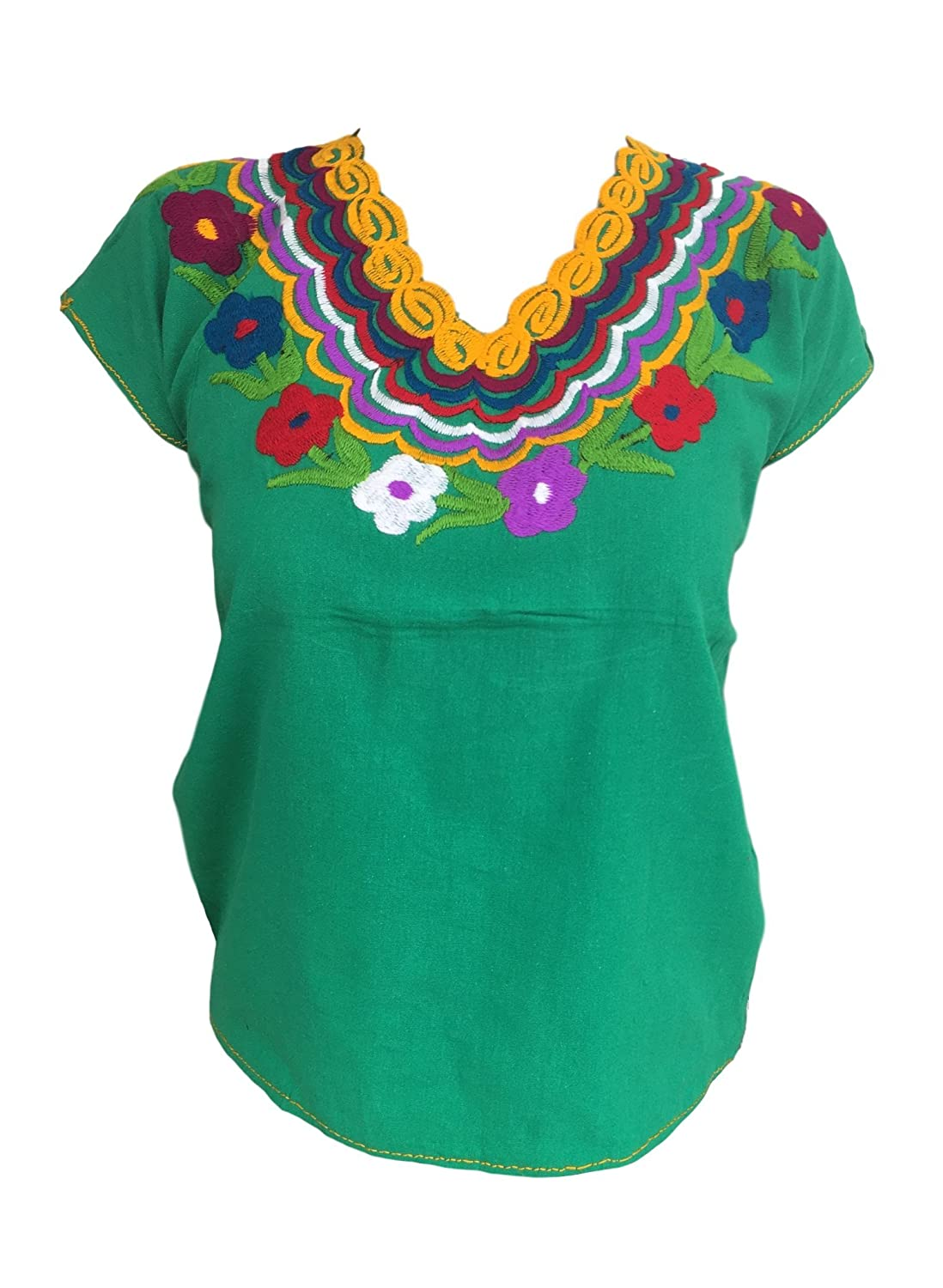 82a61a5502227 Floral mexican blouse embroidered authentic handmade cotton green large at amazon  womens clothing store jpg 1098x1500