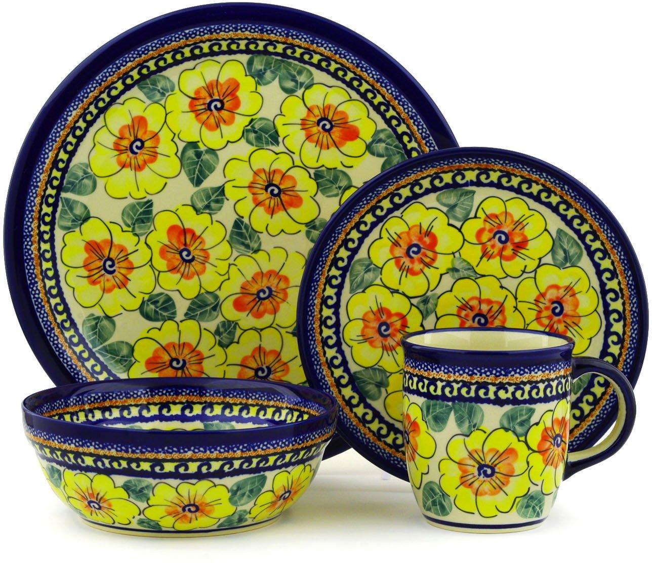 Polish Pottery 4-Piece Place Setting WAWEL (Lemon Poppies Theme) Signature UNIKAT + Certificate of Authenticity by Polmedia Polish Pottery