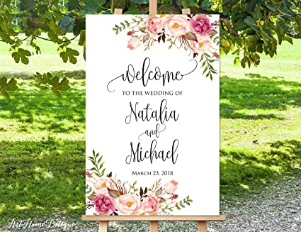 image regarding Printable Welcome Sign titled : Dozili Welcome in the direction of Our Wedding day Indication White Welcome