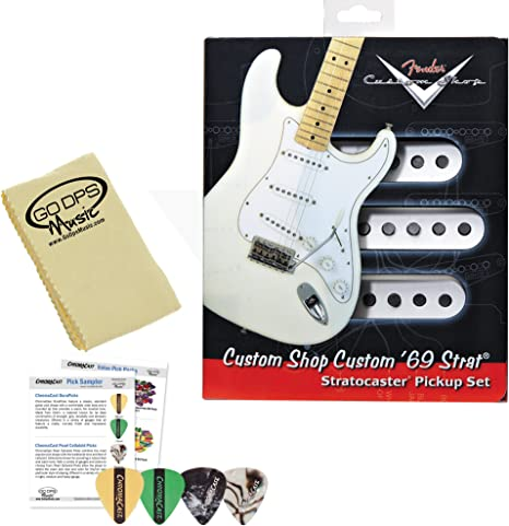 Fender LD-PLN3-O9CH Custom Shop 69 Strat Guitar Pickup Kit (099-2114-000) con Planet Waves/GO-DPS 3-Pick Sampler (DPS-PW-SAMPLER), Express Guitar Polish Pack y GO-DPS Paño de pulido: Amazon.es: Instrumentos musicales