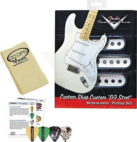 Fender LD-PLN3-O9CH Custom Shop 69 Strat Guitar Pickup Kit (099-2114-000) con Planet Waves/GO-DPS 3-Pick Sampler (DPS-PW-SAMPLER), Express Guitar Polish Pack y GO-DPS Paño de pulido: Amazon.es: Instrumentos musicales
