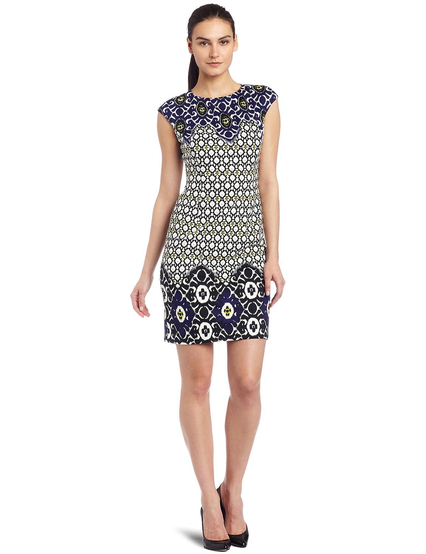Maggy London Womens Cap Sleeve Print Ponte Dress