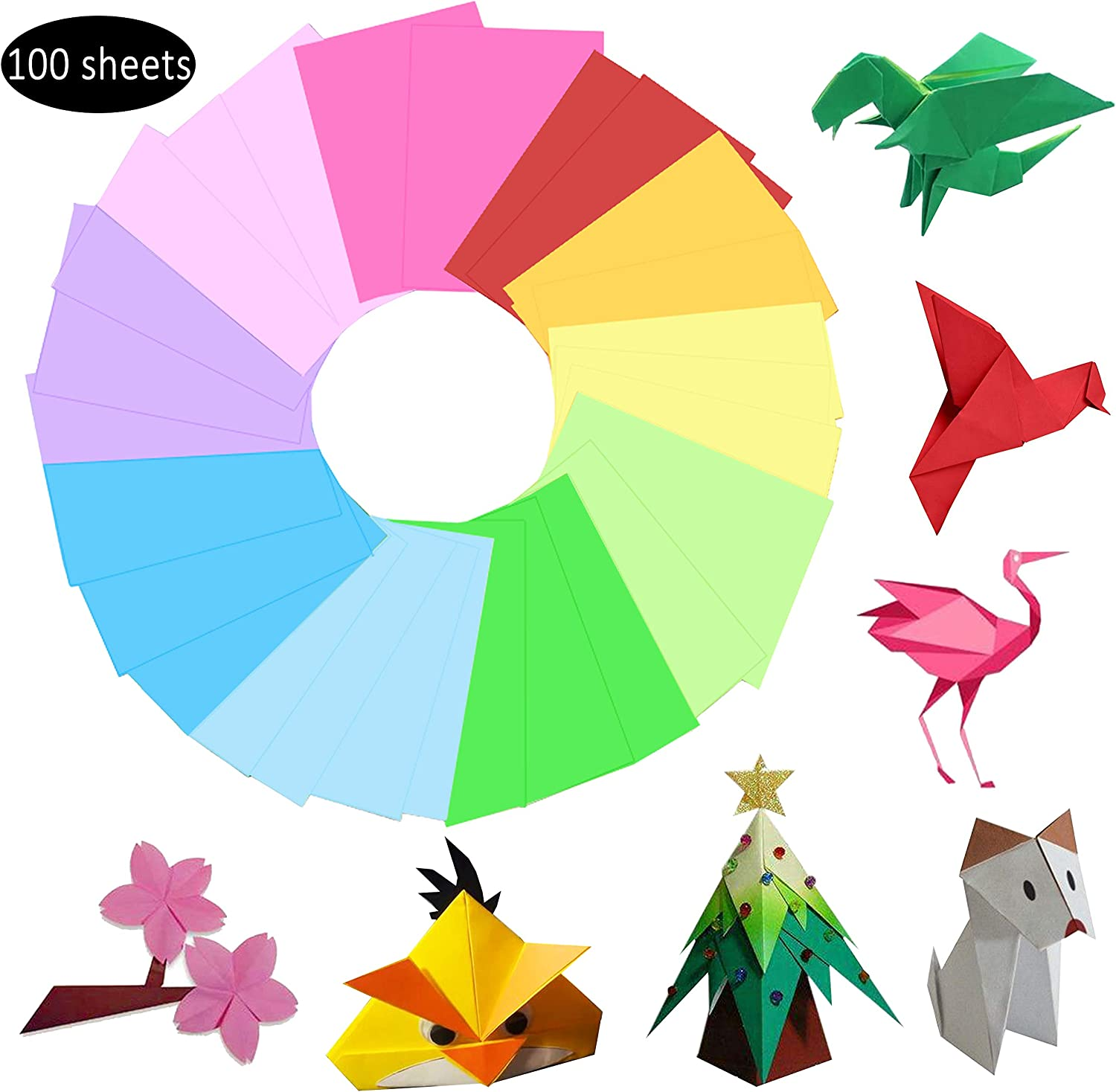 Hbsite Origami Paper 100 Sheets 7.9 inch Square Double Sided 10 Vivid Colors for Beginners Trainning and Crafts Projects