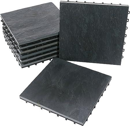 Bodenmax Pack De 8 Dalles Clipsables En Ardoise 30x30x2 5cm Dalles Emboitables Pour Terrasse Jardin Balcon Piscine Sauna Interieur Et Exterieur Amazon Fr Bricolage