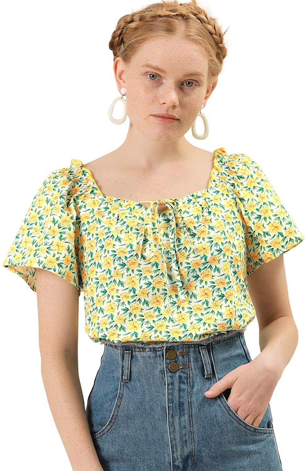70s Outfits – 70s Style Ideas for Women Allegra K Womens Floral Sweetheart Neck Ruffle Short Sleeves Blouse Top $20.99 AT vintagedancer.com