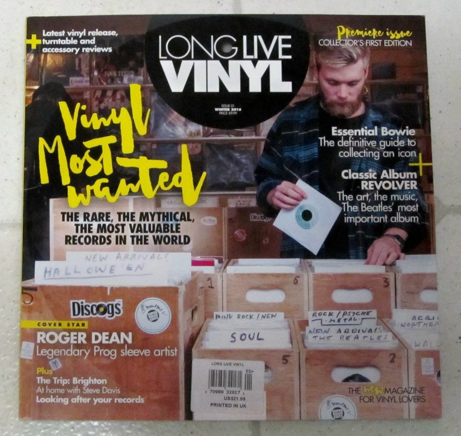 LONG LIVE VINYL MAGAZINE WINTER 2016, PREMIER ISSUE COLLECTOR'S FIRST EDITION.