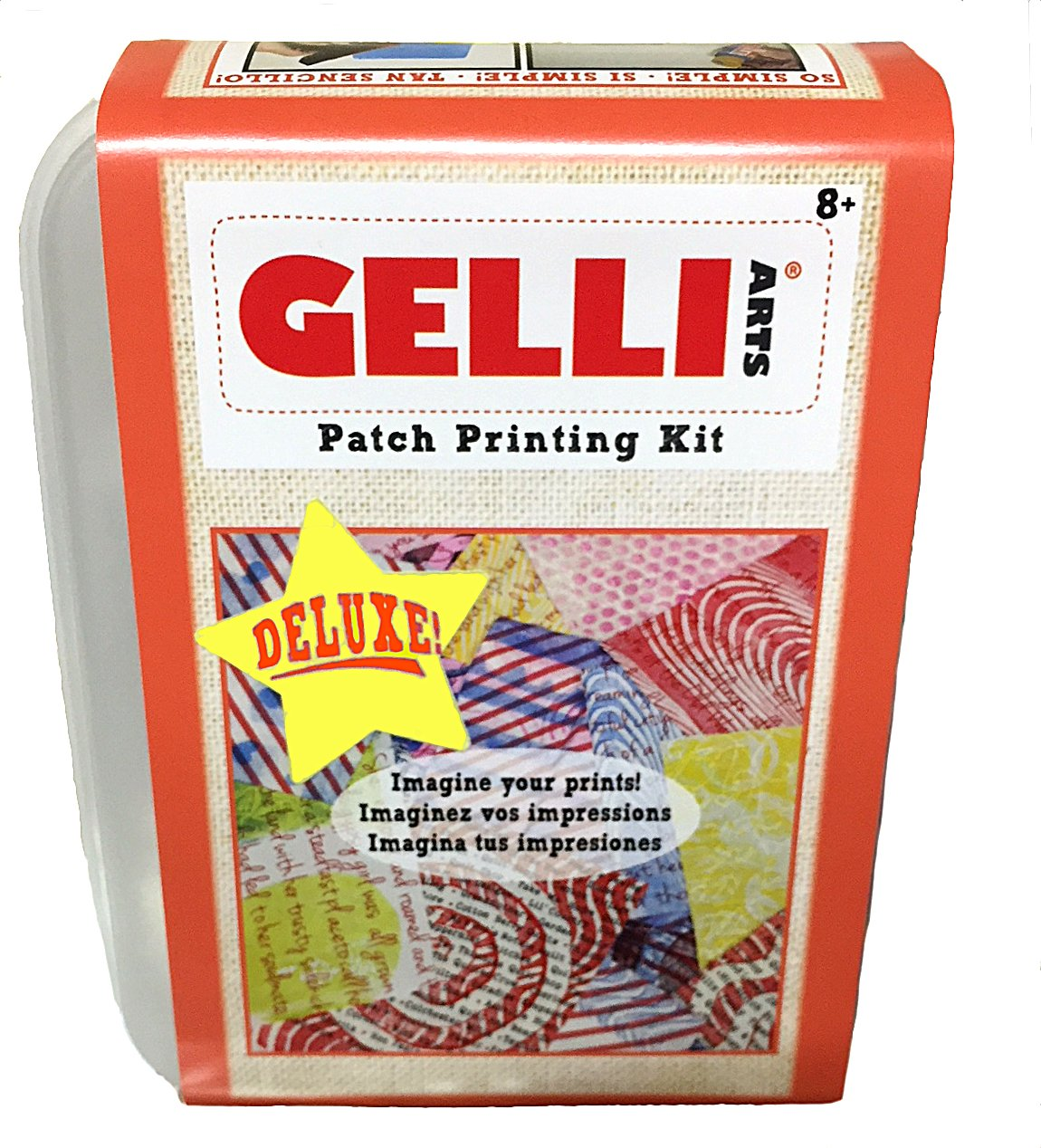 Gelli Arts Deluxe Fabric Printing Kit -All in One DIY Craft Set with 5 x 5 Gel Printing Plate, Five Premium Paint Colors, Roller, Paper, Storage Container and More! by Gelli Arts