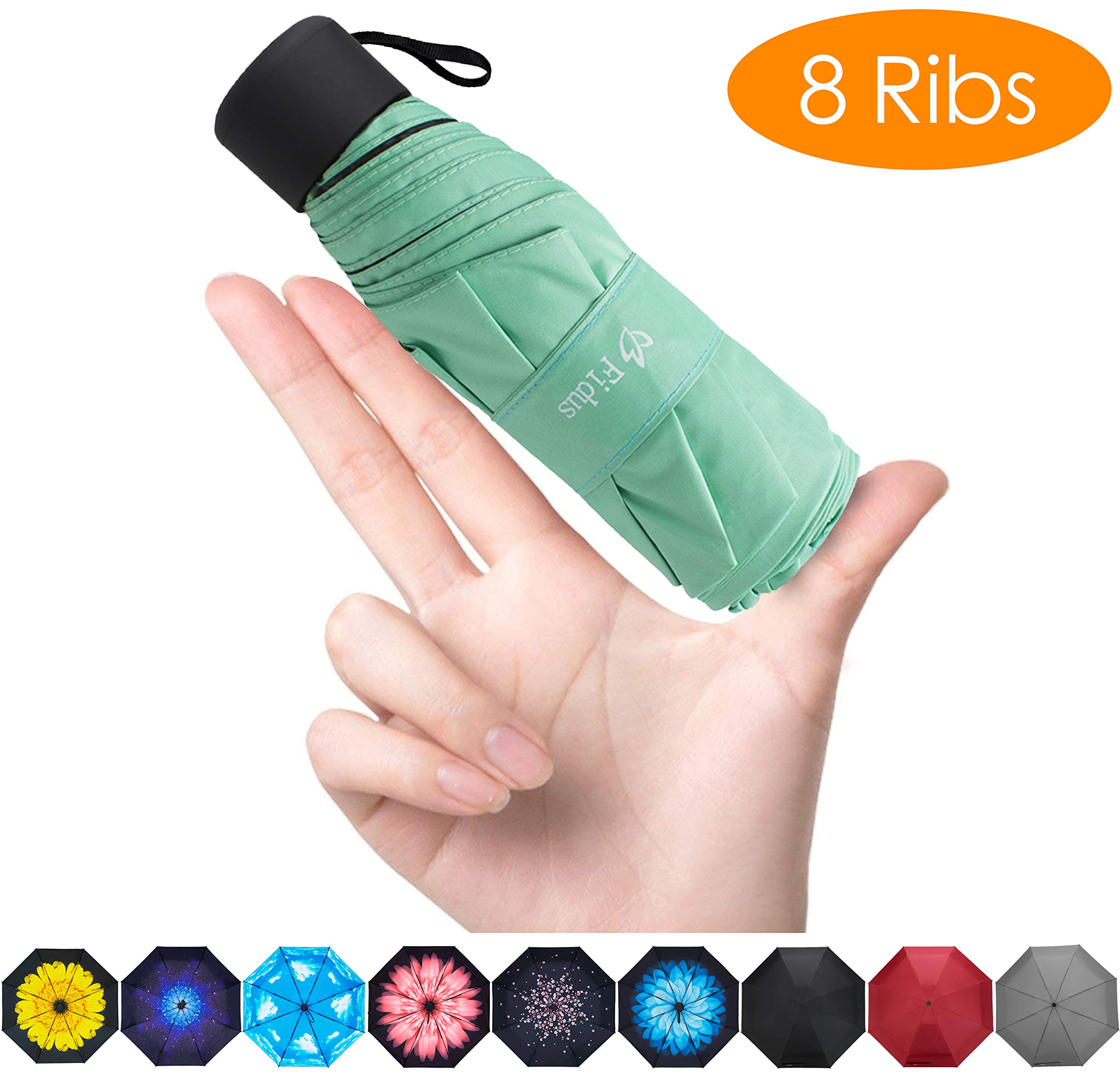 FidusUpgraded 8 Ribs Mini Portable Sun&Rain Lightweight WindproofUmbrella - Compact Parasol Outdoor Travel Umbrella for MenWomen Kids-Green by Fidus