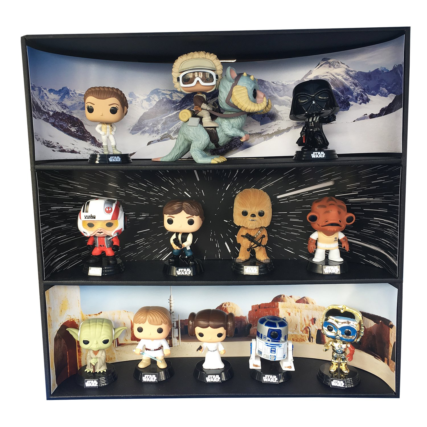 1 Display Geek Stackable Toy Shelf for 4 in. Vinyl Collectibles with 3 Backdrop Inserts, Black Corrugated Cardboard by Display Geek, Inc. (Image #2)