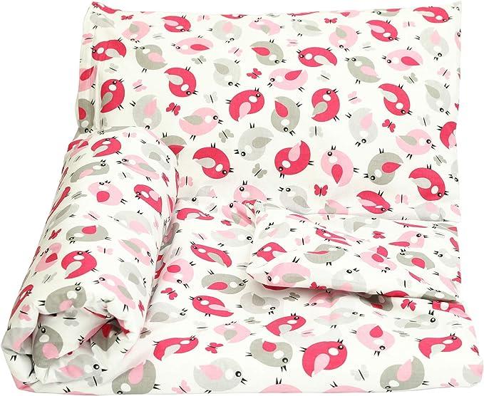 Olobaby Reversible Cot Duvet//Quilt Cover and Pillowcase Set 2 pcs 100/% Cotton Blue /& Grey Stars//White, 120 x 90 cm