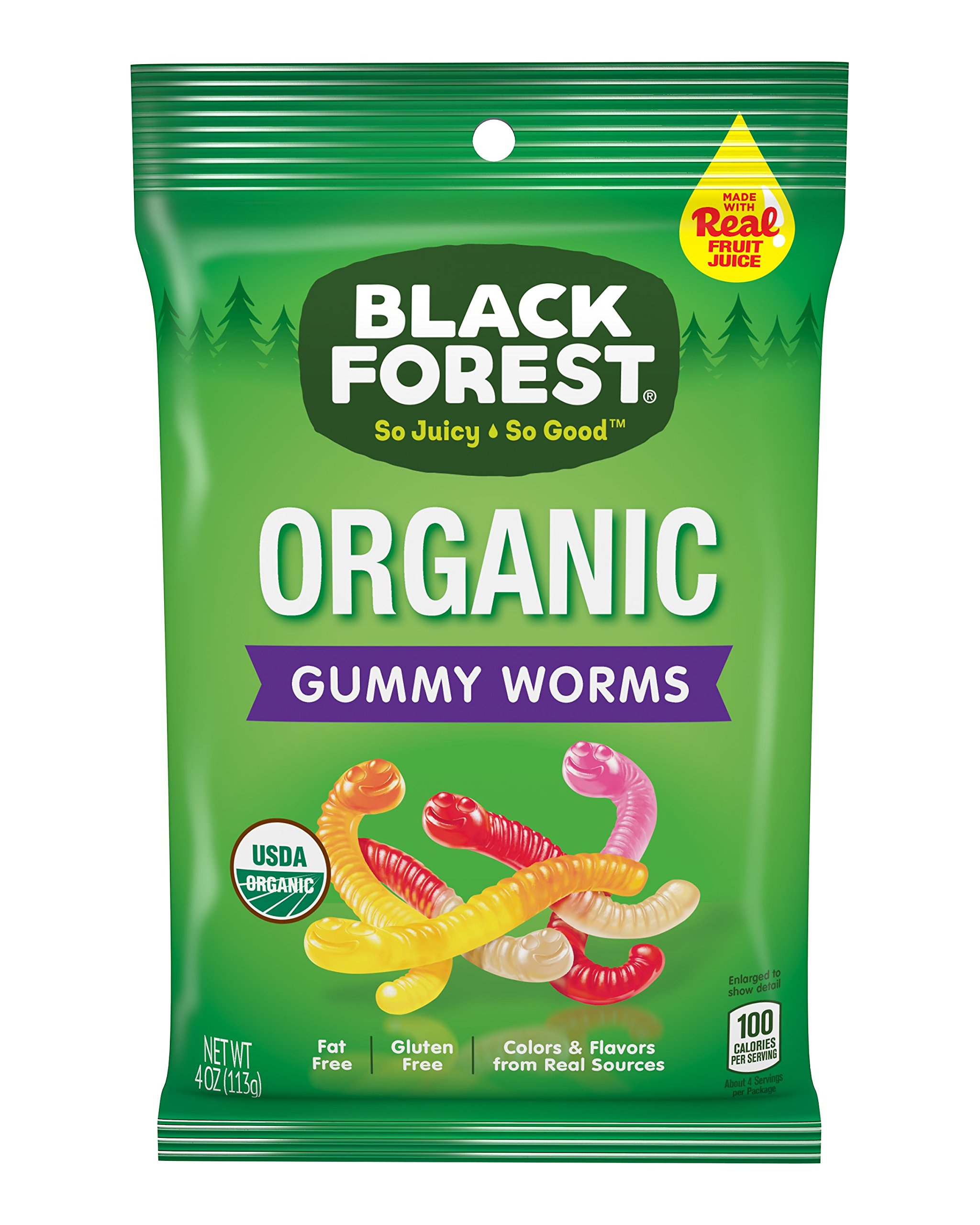 Black Forest Organic Gummy Worms Candy, 4 Ounce Bag, Pack of 12
