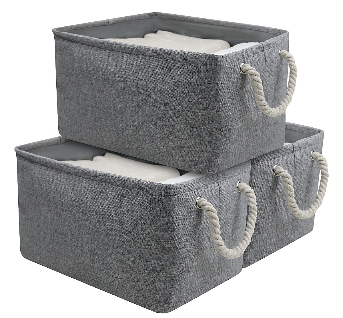 "AMJ Cotton Storage Basket Container with Strong Cotton Rope Handle, Foldable Cabinet Cube Organizer Bin, Gray, Polyester Lining, 3-Pack, Gray - Dimension: 16""(L)x11""(W)x9""(H),41x28x23cm,Suit for most storage shelf,cabinet,closet or table.Pack of 3 together for make your room more neat. Materials: this baskets made of eco-friendly materials, 100% natural Jute fabric outside, cotton Handles, Polyester Lining, it is very durable and pretty. Attractive Design: the collapsible basket won't waste your space if you needn't use it. and the strong cotton handles are very easily to slide in and pull out of shelves or cabinet. - living-room-decor, living-room, baskets-storage - 81JnINnxWQL -"