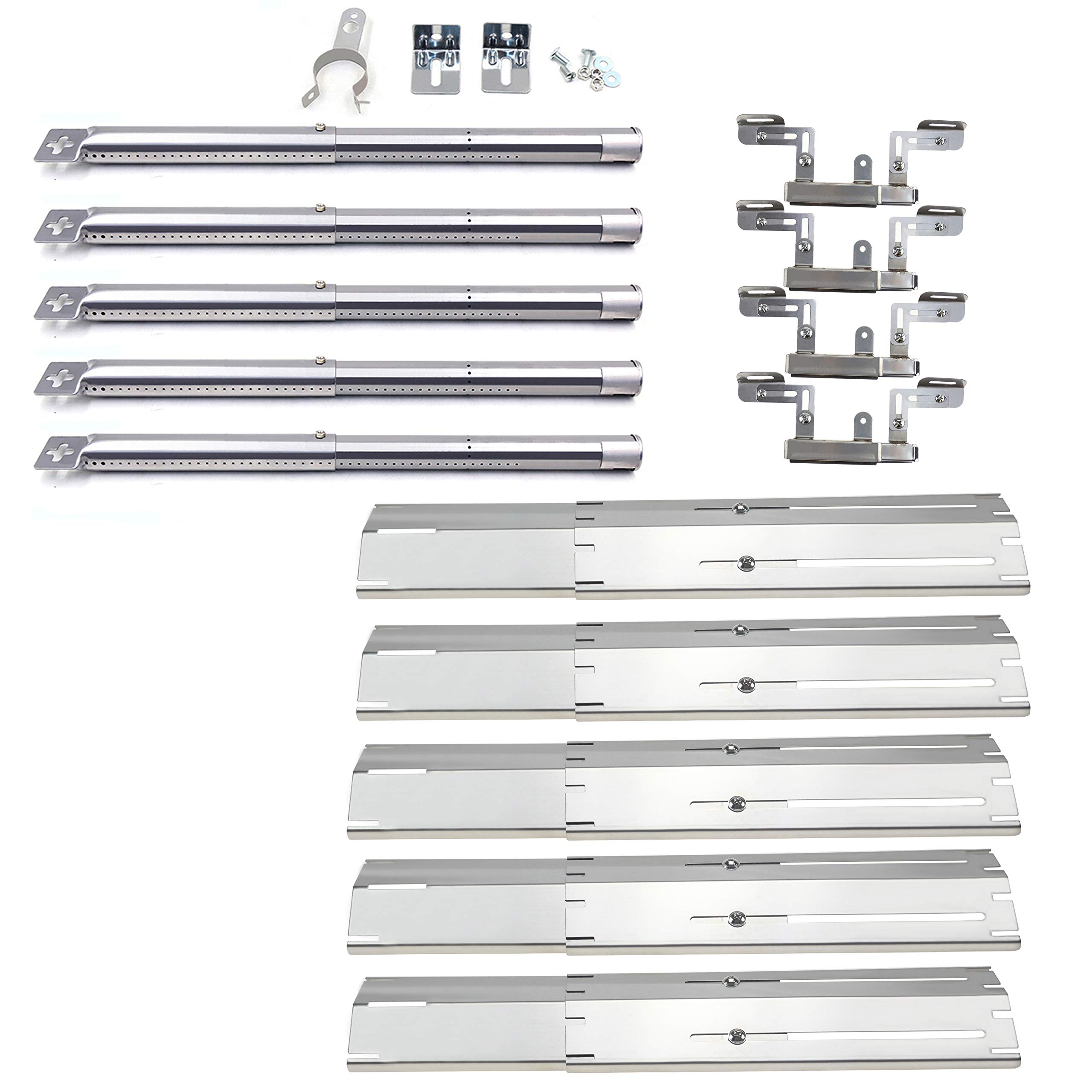 Hisencn Stainless Steel Adjustable Grill Burners, Heat Plates & Crossover Tubes Replacement Parts for Brinkmann 5 Burner Grill Models 810-3660-S, 810-1750-S, 810-4580-S, 810-2511-S