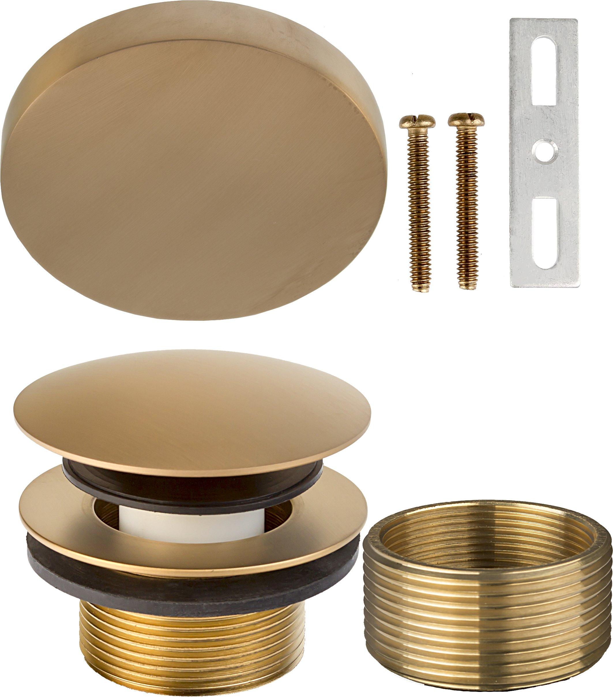 "1-1/2"" x 1-1/4"" (1-3/8 inch) Modern Mushroom Bath Waste Trim (Tub Drain and Faceplate)- PVD Satin Bronze"