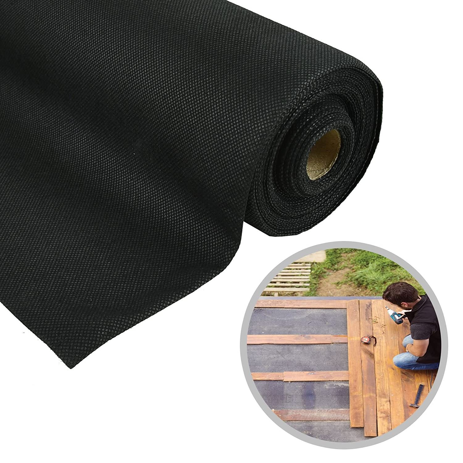 ASAB Weed Control Membrane | Non Toxic Ground Cover Roll | Landscape Fabric Garden Orchard | Lightweight Durable | Breathable (1m x 50m)