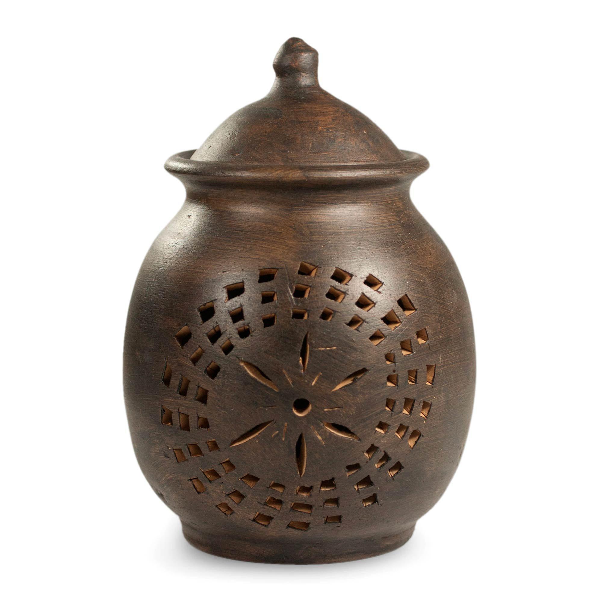 NOVICA Maya Ceramic Candle Holder, Brown, 'Firefly'