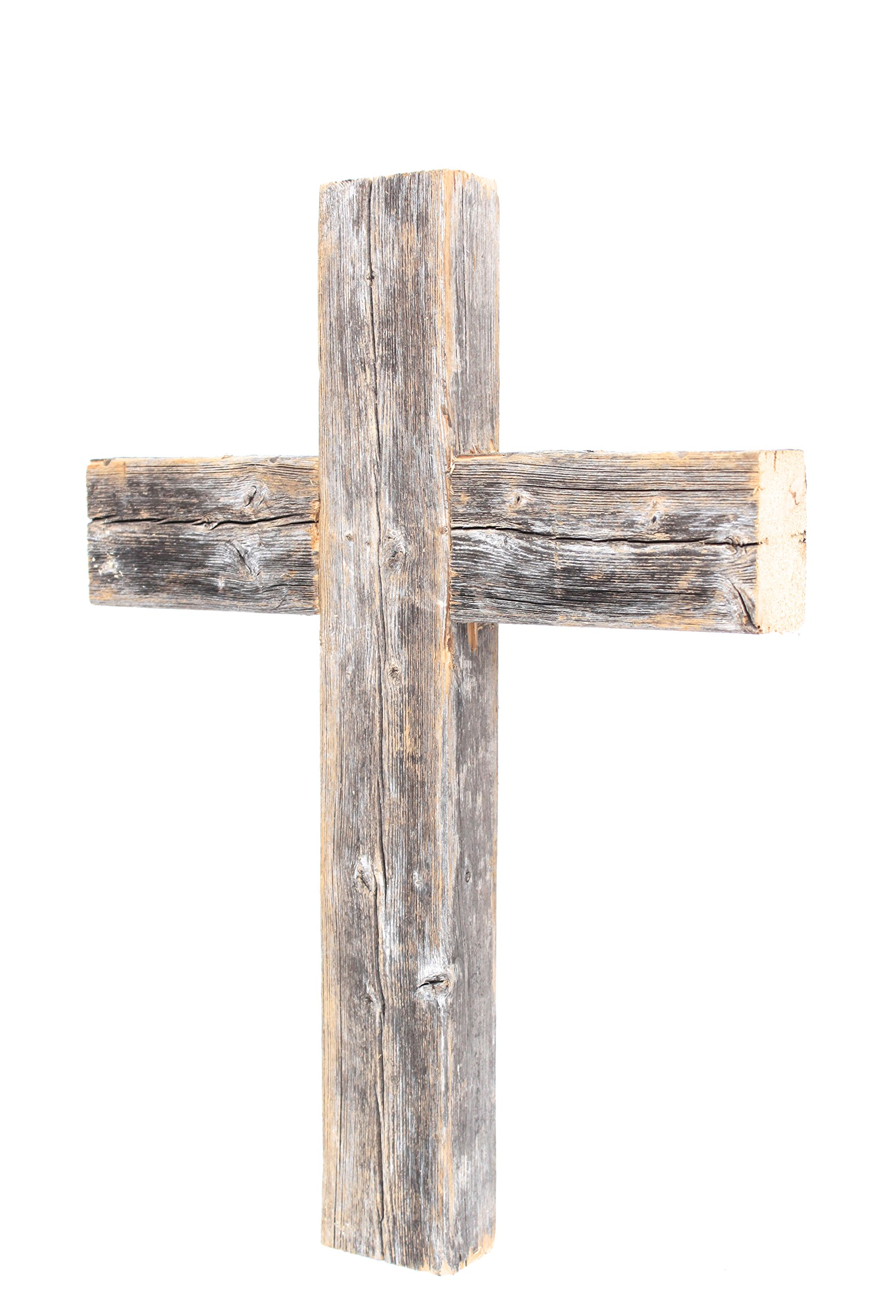 BarnwoodUSA Rustic 12 by 16 by 2 Inch Old Wooden Cross - 100% Reclaimed Wood, Weathered Grey