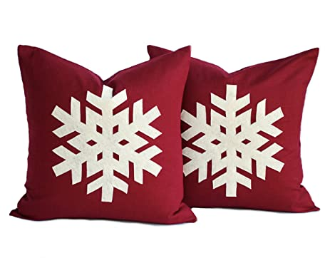 two snowflake christmas pillow covers 20x20 inch holiday pillow decorative pillow christmas