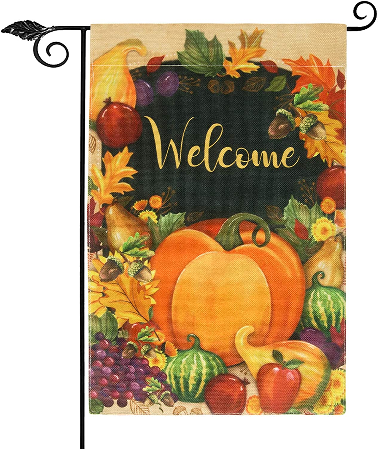 Thanksgiving Garden Flag12.5 x 18 Inch, Pumpkin Welcome Fall Garden Flag Vertical Double Sided Burlap House Flag, Autumn Leaves Harvest Yard Decorations Farmhouse Outdoor Thanksgiving Decor